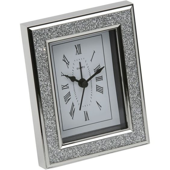 Arthur Price Present day silver plated clock with diamonte det (53 CAD) found on Polyvore
