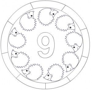 number 9 mandala coloring: