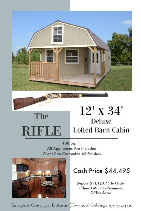 12 X 34 Deluxe Lofted Barn Cabin 408 Sq Ft Includes All Appliances And You Can Customize All Finish Lofted Barn Cabin Narrow House Plans Portable Buildings