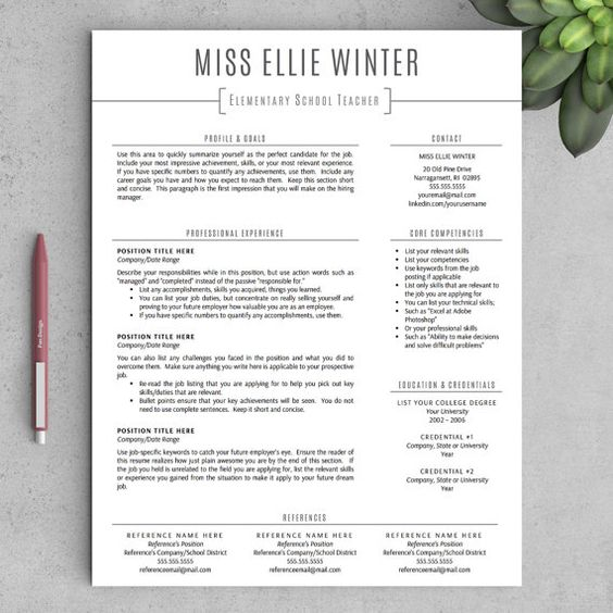 teacher resume template  words and resume templates for