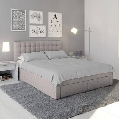Martina Fabric Queen Bed With Storage Drawers Ash In 2020