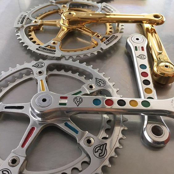 More from the drilled, pantographed, gold plated rare crank shoot. #campagnolo by veloaficionado