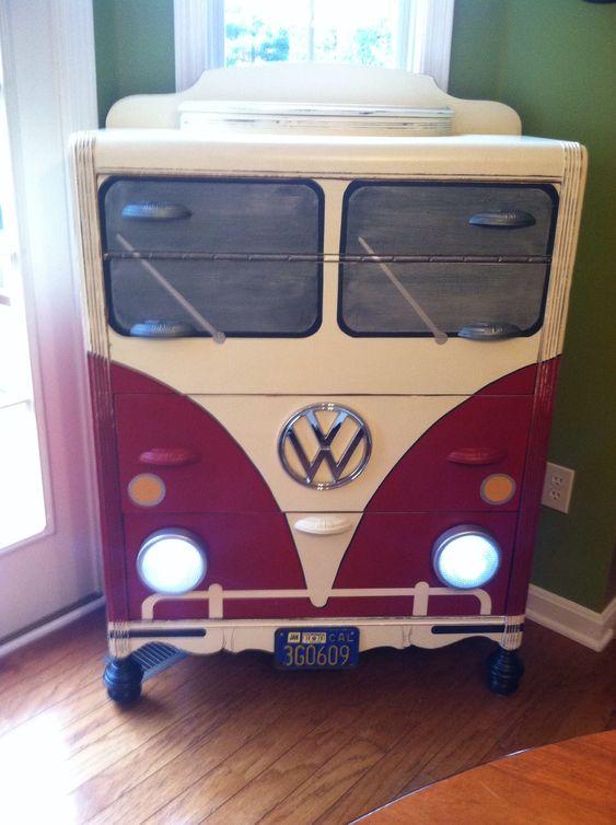 dresser painted to look like a red VW van
