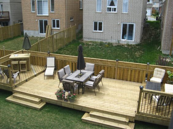 Flat decks and small back yard patio designs with deck for Decking for back garden