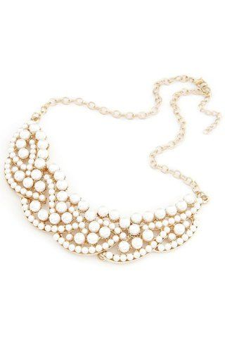 SHARE & Get it FREE | Chic Faux Pearl Hollow Out Statement NecklaceFor…