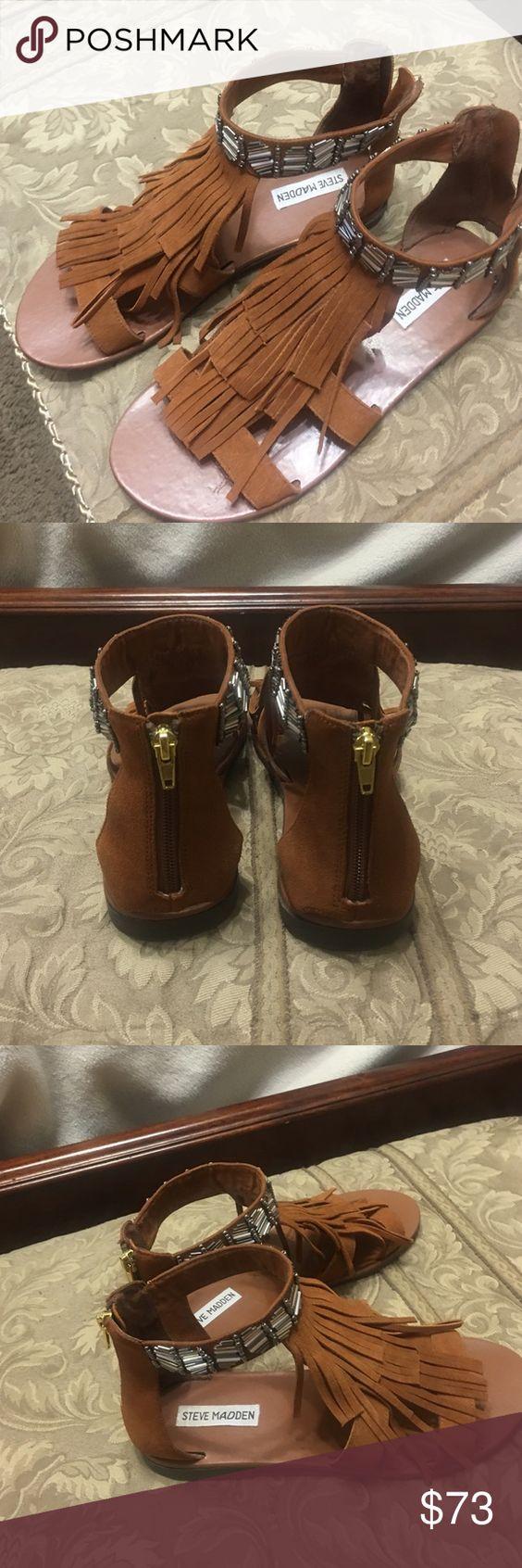 Fringe Tobacco color Sandals genuine suede Suede upper with detailed ankle back zipper gold Steve Madden Shoes Sandals