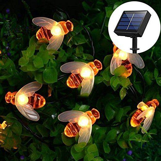 Solar Led Bienen Lichterkette Dinowin 30 Led Warmweiss Aussen Wasserdichte Lichterkette Dekorative Fur Garte Idee Giardino Rustico Idee Giardino Giardini Rustici