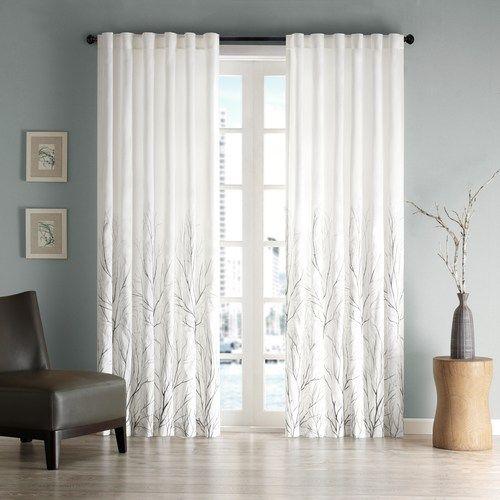 Madison Park 1 Panel Eliza Embroidered Window Curtain White