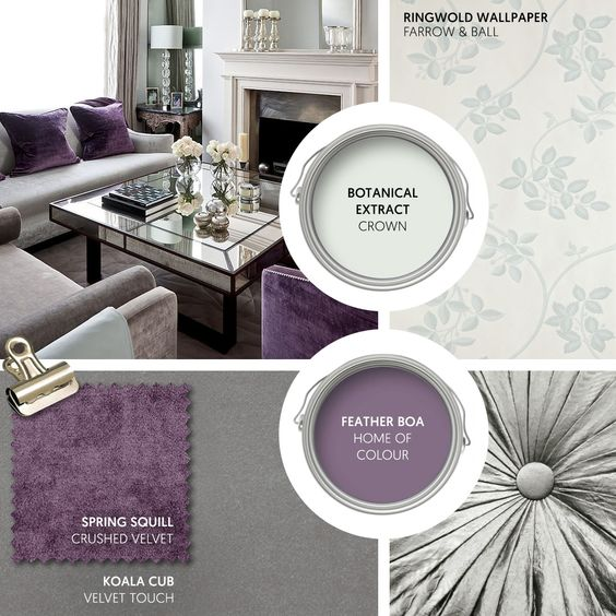 Monday Moodboard - Create a look of luxury with furniture and decor in shades of grey, purple and pale duck egg. Choose sophisticated textures such as velvet and Venetian glass and add a touch of nature with this subtle wallpaper from Farrow & Ball... #theloungeco #moodboard #interiormoodboard #paintswatches #wallpaper #interiordesign #lounge #loungedecor #livingroomdecor #duckegg #purple #luxury #livingroomluxe