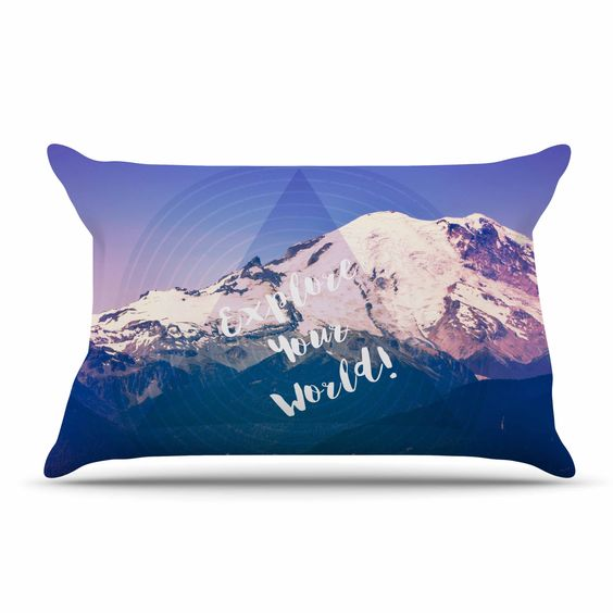"Robin Dickinson ""Explore Your World!"" Blue Purple Pillow Sham"