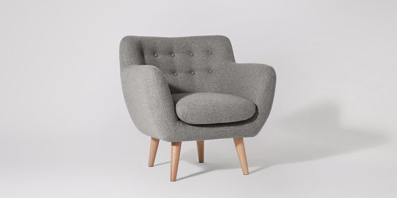 Swoon Editions Armchair, Mid Century style in Granite - £399