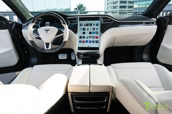 Tesla Model S Custom Leather Interior in Bentley Linen with Gloss Carbon Fiber Dashboard by T Sportline