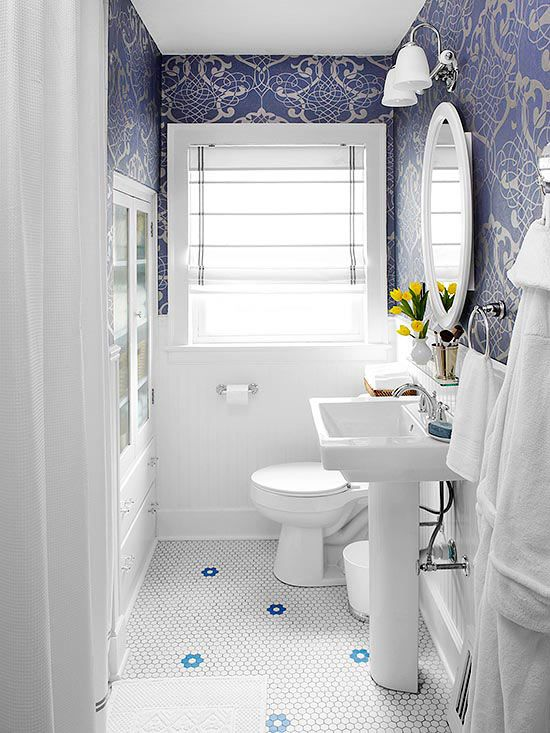 Before and after bathroom makeovers classic cabinets for Bright bathroom wallpaper