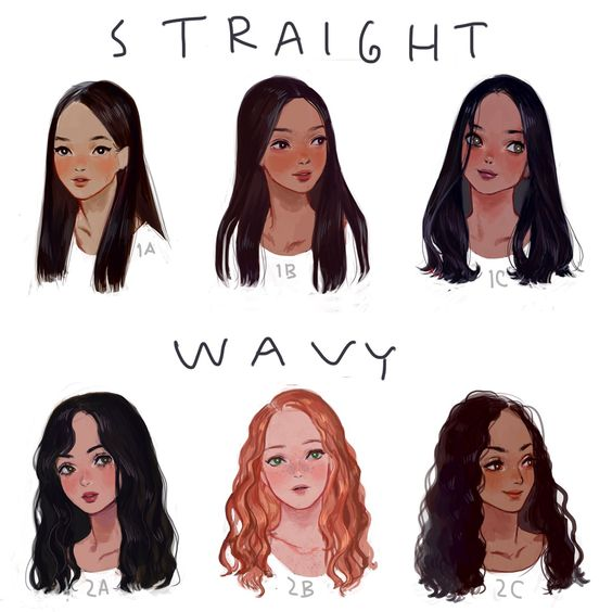 """eafuransu: """" I drew a visual hair type classification guide. I thought I'd share it here. Mine is between 1b-1c. """""""