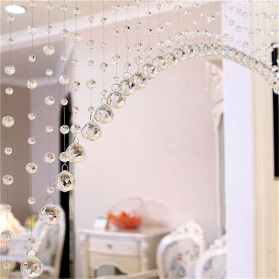 details about beaded crystals strand string curtains. Black Bedroom Furniture Sets. Home Design Ideas