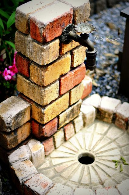 DIY Brick Faucet THIS wold make a nice outdoor shower