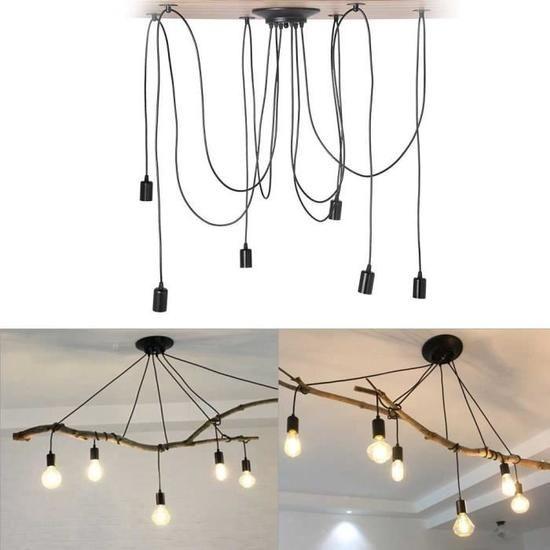 Lustre Plafond XY FR 6 Ampoules Noir et bois (avec