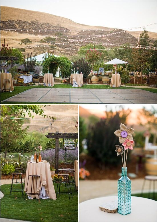 LOVE the lay out of this back yard wedding. Instead of banquet ...