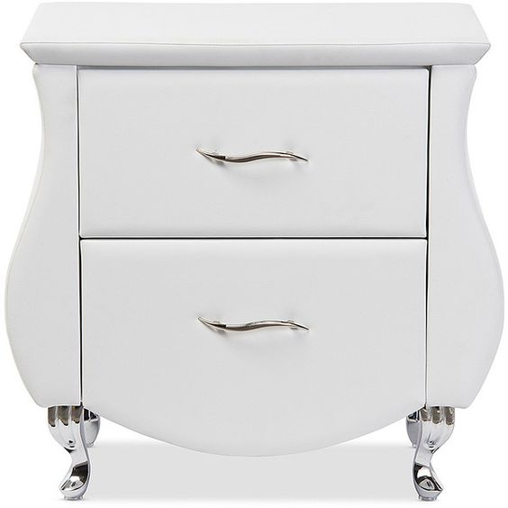 Baxton Studio White Erin Upholstered Nightstand (750 SAR) ❤ liked on Polyvore featuring home, furniture, storage & shelves, nightstands, fabric furniture, baxton studio, upholstery furniture, white nightstand and upholstery fabric furniture