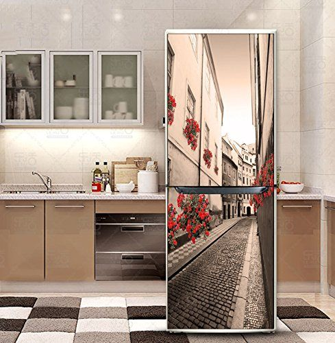 Customized Door Fridge Sticker Closet Cover Diy Self Adhesive Removable Waterproof Vinyl Sticker Refrigerator Covers Kitchen Wallpaper Wall Stickers Wallpaper