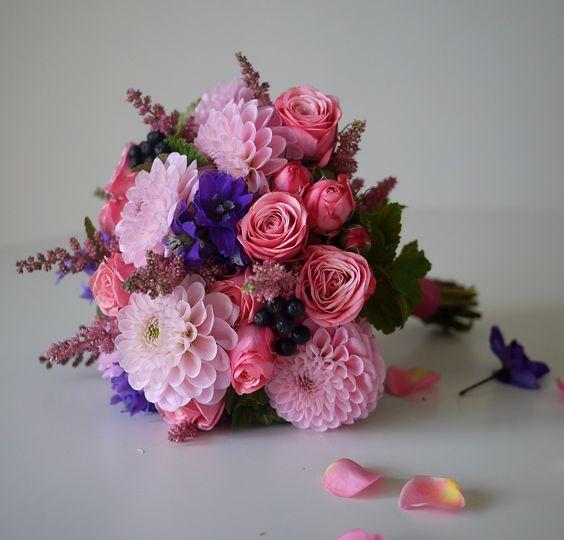 astilbe - dahlia - delphiniums - rose