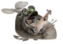 [ Frog in Lily Pad Boat w/Guitar ] .. Yardbirds-Junkyard Dogs and Cats, etc. / Metal Sculptures