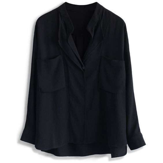Chicwish Neutral Batwing Crepe Shirt in Black (610 ZAR) ❤ liked on Polyvore featuring tops, black, batwing sleeve shirt, relax shirt, relaxed fit shirt, deep v neck shirt and crepe top