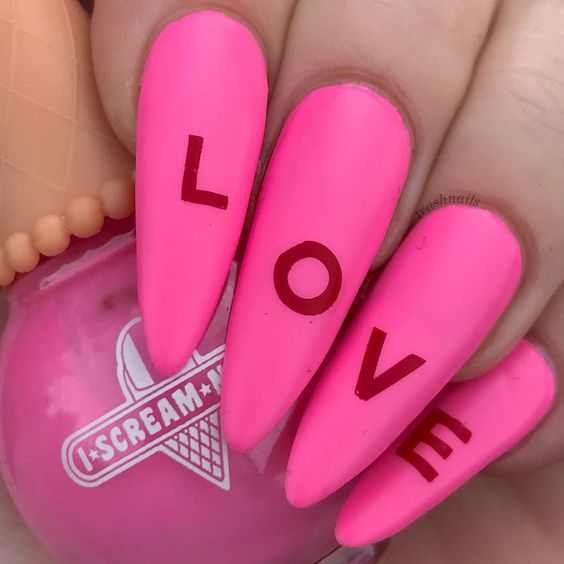 LOVE PINK AND RED NAILS, I SCREAM NAIL POLISH INSTAGRAM IMAGE BY TRASHNAILS