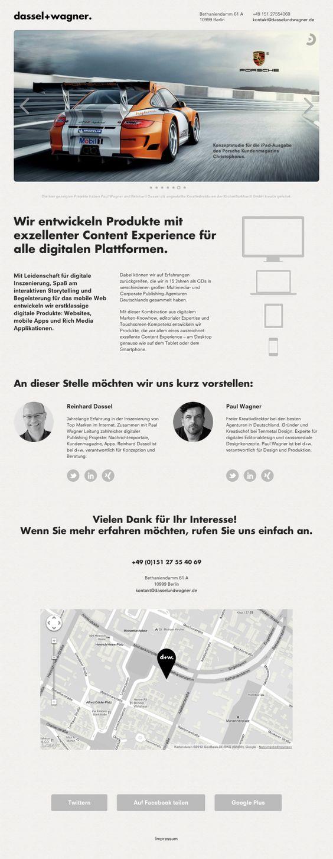 Dassel+Wagner.  One Pager der neu gegründeten Agentur Dassel+Wagner aus Berlin. Wir entwickeln digitale Produkte für alle Plattformen im Verlags- und Corporate Publishing Bereich. (Nachrichtenportale, digitale Magazine, iPhone- und iPad-Apps, Web-Apps)