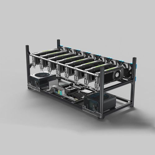 8//6 GPU Mining Rig Aluminum Case Stackable Open Air Frame