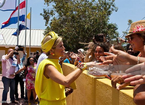 Queen Maxima of the Netherlands greets the audience during her visit to Dia di Rincon on April 30, 2015 in Rincon, Netherlands.