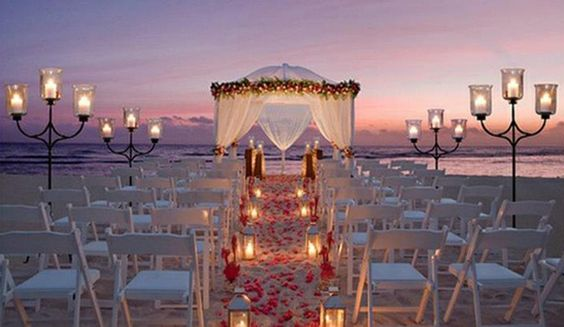 A beautiful night beach wedding