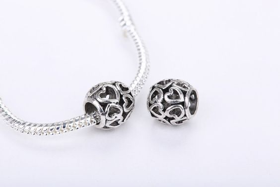 5PCS/Lot Locket Charms Original 925 Silver Heart Pendant European Beads Fit DIY Snake Chain Bracelet Women Fashion Jewelry