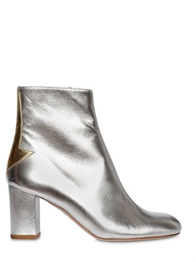 CAMILLA ELPHICK - 75MM SILVER LINING LEATHER BOOTS - LUISAVIAROMA