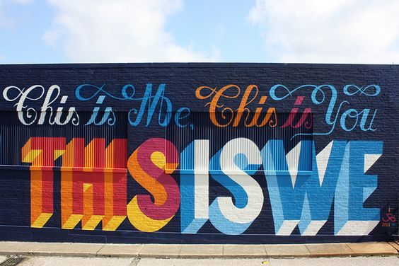 THIS IS ME, THIS YOU, THIS IS WE. Spray on wall. Part of a 8×45m mural in Memphis, USA. 2011