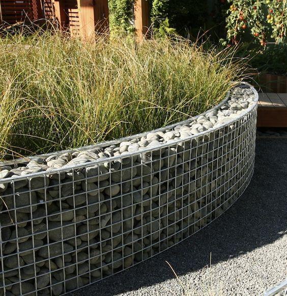 Garden Walls   Gabion wall with grey rock & grey gravel path