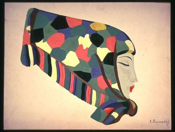 Gouache on paper, head of a woman wearing decorative scarf by Emma Bonazzi, ca. 1930-39.