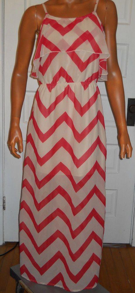 Indulge Maxi Dress Chevron Spaghetti Strap Sheer Jr M Orange Cream Slit Prom…