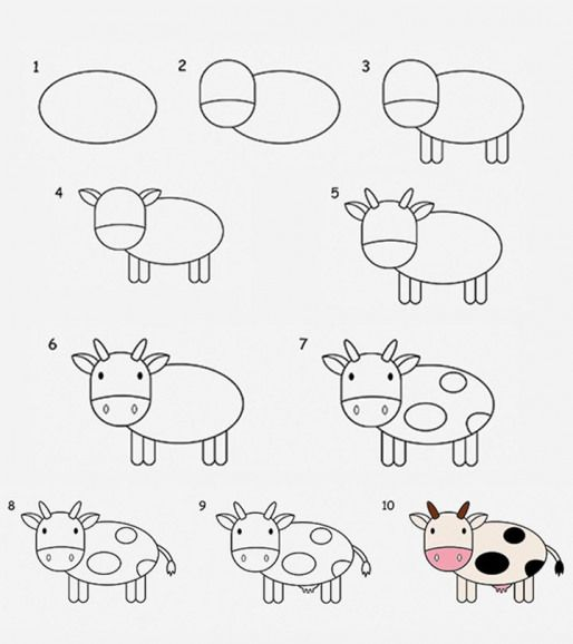 2 Easy Tutorials To Draw A Cow For Kids Pencildrawing Pencil Drawing For Kids Easy Animal Drawings Drawing Tutorials For Kids Easy Drawings For Kids