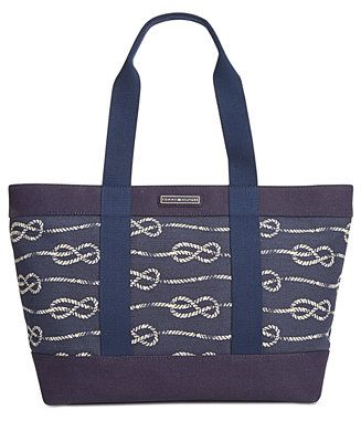 Tommy Hilfiger Daphne Knotted Rope Canvas Tote - All Handbags - Handbags & Accessories - Macy's