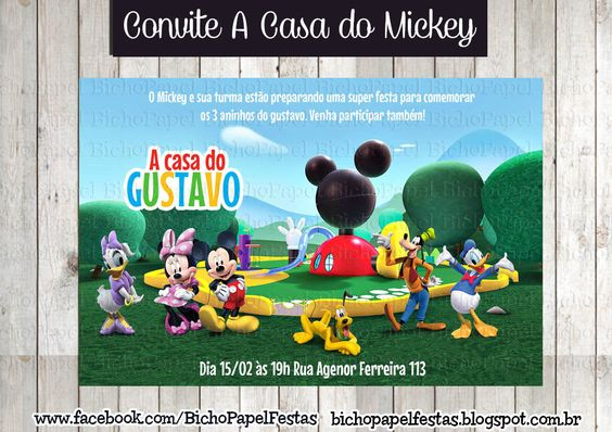 Arte Convite A casa do mickey
