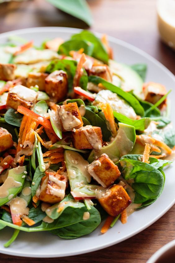 Marinated Tofu, Avocado, and Spinach Salad with Creamy Toasted Sesame & Soy Dressing - ilovevegan.com #vegan