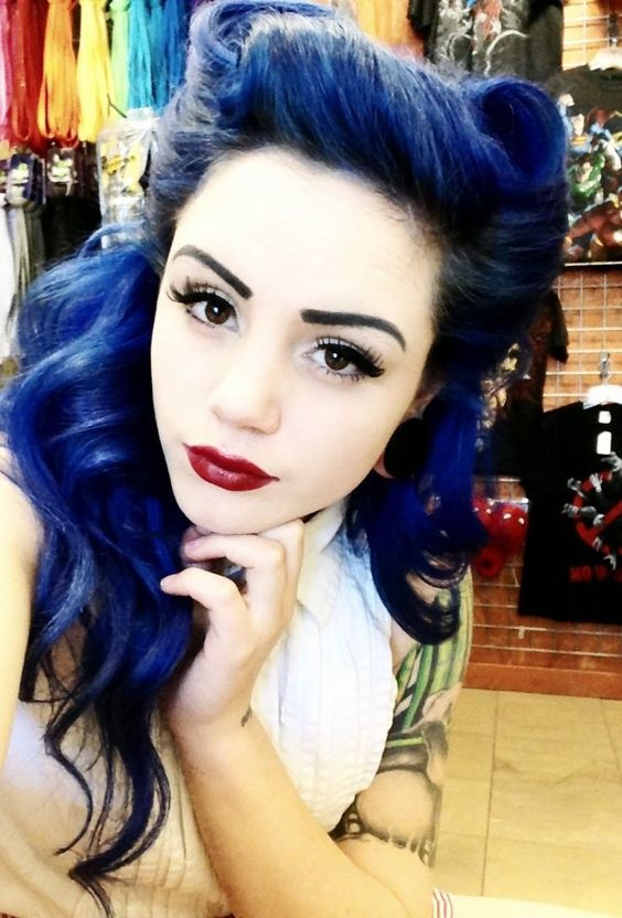 Psychobilly Girls Hairstyles Top 15 Colored Hairstyles And Haircuts Rockabilly Hair Hair Styles Blue Hair