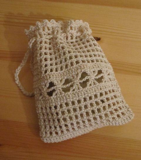 Beutelchen naturfarbende Baumwolle - prima für Seifenreste. Bei Verwendung in der Dusche gibt es gleich eine leichte Massage dazu.