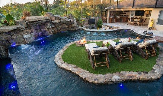 Lazy River Lucas Lagoons Custom Pool On Pine Island River And Island Luxury Pools Pool Houses Backyard Pool