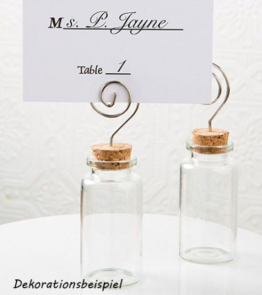 Mini-Gläschen mit Korken zum Befüllen mit Süßigkeiten, als Verpackung für kleine Geschenke oder als Platzkartenhalter. Größe: ca. 10,3 cm.
