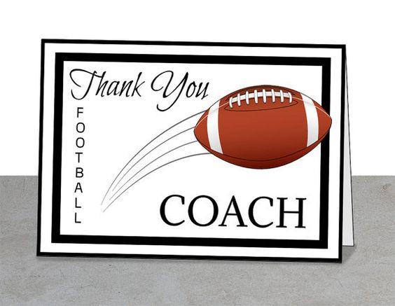Football Coach Thank You Card, PRINTABLE, 5 x 7 card, Team ...