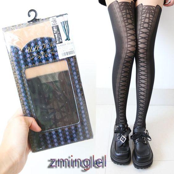 Aliexpress.com: (9,34€) Comprar Sexy Gothic Lolita Fake Tie Lace up medias pantimedias negro delgadas Punk Rock Girls de placas de roca fiable proveedores en Meow Girl