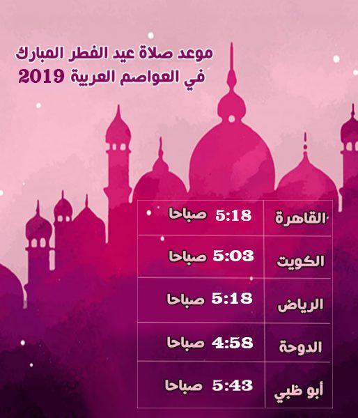 وقت صلاة عيد الفطر المبارك 2019 1440هـ موعد عيد الفطر في مصر والسعودية والدول العربية Prayers Prayer Times Eid Al Fitr
