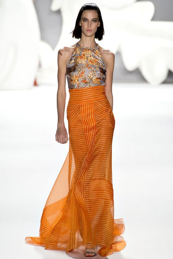 Caroline Herrera - Spring 2013 Ready to Wear. The pairing of grey and orange, and the stripes and flowers. Surprising, but they go beautifully together.